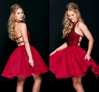 Wholesale 2017 Sexy Backless Short Rose Red Cocktail Dresses Beaded Halter Homecoming Party Dress Mini Organza Prom Gowns