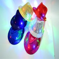 Wholesale Sequins Led Light Top Hats for Adult and Kids Performance Hat Dome Shinning Round Hat Womens Hat colors