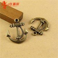 antique nautical items - 23 MM Antique Bronze Vintage anchor charm pendant bead parts manual DIY retro jewelry nautical charm nautical item