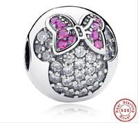 Wholesale Fashion Sterling Silver CZ Zircon Mickey Head Shape European Charms Bead Fit Snake Chain Bracelets Bangles DIY Jewelry Loose Beads