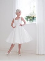 Wholesale 2016 Effie Short A Line Satin Wedding Dresses Square Neckline Back Sleeveless Sash Bridal Gowns Covered Button Tea Length House Of Mooshki