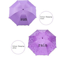 Wholesale 2016 New Fashion Anti UV Sunscreen In Case Water Bloom Umbrella Tri folded Umbrella Sun Umbrella Colour Changing Umbrella zf