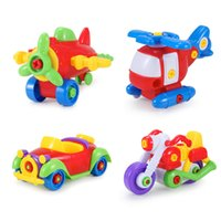 Wholesale DIY Children s Toys Assembled Jigsaw Car Plane Develop Fun Building Train Kids Educational Toy With Clamp Screwdriver Tool RT002