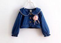 Wholesale 2016 new girls denim coat baby girls big flower turn down collar outwear cape free fedex dhl ship