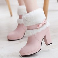 Wholesale Sweet Women Winter Snow Boots Chunky Heel Zipper Plush Platform Bowtie Short Ankle Boots Warm Comfortable Women Shoes Size