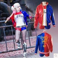 Wholesale Suicide Squad Jacket Costumes Women Hrley Quinn Outwear Halloween Cosplay Embloidered Baseball Outwear Cosplay Clothes CCA5160