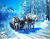 antique horse carriages - Blue World Snow Horse Carriage PATCHWORK Diy Diamond painting square diamond painting diy unfinished x35cm HWB