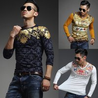 Wholesale Lycra Masculina - Wholesale-Hot Sell Printed T Shirt Men Brand Designer Hip Hop Long sleeved Sport Tshirt homme High quality Fashion Luxury Camisa Masculina