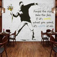 banksy wallpaper - Graffiti Artist Banksy Wall Murals Custom D Photo Wallpaper Bricks Wallpaper for walls D Bedroom Office Sofa TV backdrop Modern Room decor