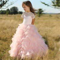 Wholesale Short Sleeved Ball Wedding Gowns - Cute Pink Flower Girls Dresses For Weddings Illusion Sleeved Tiered Organza Lace Ball Gown Girls Pageant Dresses Floor Length