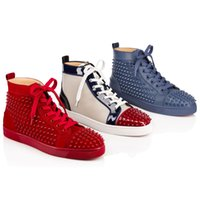 Wholesale Top party shoes man gift cl lou mens flats spikes red bottom sneaker casual shoes matte and leather winter shoes