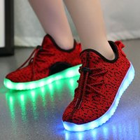 Wholesale Child Led USB Boys NMD Coconut Light Up Children Sport Shine Shoes Kids Sneakers With Student Glow Flyweave Girls Charging Luminous Shoe