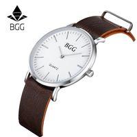 beach gift tags - Christmas gift swiss Casual watch Luxury beach Leather Men watch New Fashion Super Thin Women Gentleman Wristwatch Clock Hour bgg brand