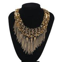 bead bib necklace - Newest Handmade Fashion Jewelry Bohemia Beads Chain Pendants Bib Statement Women Tassel Choker Necklaces Collar Accessories