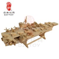 aircraft carrier games - 3D DIY woorden puzzle jigsaw aircraft carrier warship Educational toy parents child game