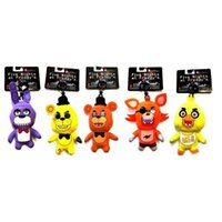 Wholesale Hot Sale FNAF Five Nights at Freddy s Freddy Fazbear Golden Freddy Foxy Bonnie Chica Plush Toys KeyChain set Children Dolls