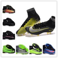 Wholesale With Box Cheap Top Original Outdoor Mercurial Superfly VI FG CR7 Soccer Shoes Magista Obra Football Boots Hypervenom II Soccer Cl