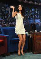 Wholesale 2016 Selena Gomez Short Satin One Shoulder Celebrity Dresses Arabia Style Pleat Min Short Party Gowns Vestidos De Festa