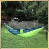 Wholesale Double Hammock with Mosquito Net Camping Survival Parachute Cloth Portable Hammock cm Stitching Color Colors