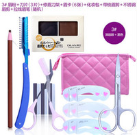 Wholesale Beauty Tools for eyebrow Shape eyebrow pencil with Cosmetic Leather Case waterproof eyebrow Palette Long lasting and waterproof brow Scissor