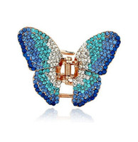 beautiful plastic plates - New Fashion Beautiful Hair Clip Hairpin Austrian Crystal Butterfly Hair Claw Hair Clips for women DHF747