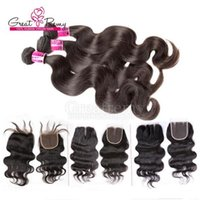 Wholesale 7A Grade Brazilian Hair Bundles With Free pc Top Closure Full Head Greatremy Factory Human Hair weave Peruvian Hair Extensions Weave