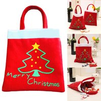 bag pattern red - Creative Christmas Tree Pattern Santa Claus Candy Bag Handbag Home Party Decoration Gift Bag Christmas Supplie
