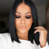 Silky Straight average woman - Cheap Glueless BOB Wigs Full Lace Human Hair Wigs For Black Women Straight Virgin Peruvian Hair Lace Front Wigs G EASY