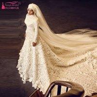 indian wedding dresses - Long Sleeve Elegant Wedding Dresses Lace Long Bridal Dresses Indian African Weeding Dresses Hijab Brides gowns with Veil