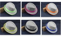 Wholesale 6 designs Fashion Straw Panama Fedora Caps Solid Dress Hats Stylish Spring Summer Beach Sun Hat D815
