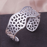best holiday food gifts - B176 high quality plated silver hollow odd shaped bangles fashion classic jewelry bracelet best gift