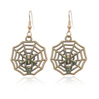 ancient spiders - 2016 Bohemian Ancient Ethnic Vintage Antique Bronze Green Drop Earrings Gipsy Punk Spider Web Dangle Earrings for Women Jewelry Accessories
