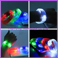 Wholesale Sound Sensor Activates Led - Novelty Voice control Sound Activated Sensor LED Flashing Flash Wrist Strap bracelets for cheer party many color for your choose