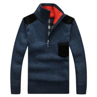 acrylic paul - winter men s sweater collar wool Pullover Paul man knit stitching thickening sweaters cy