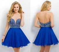Wholesale Royal Blue Crystal Beading Homecoming Dresses Short Party Gowns Graduation Dresses With Sweetheart Neck Zip Back Chiffon Dresses