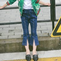 Wholesale 2016 Fall Kids Girls Boot Cut Jeans Pants Fashion Vintage Baby Girls Fall Summer Pants