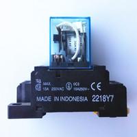 al por mayor relés de bobina-Nuevo relé de energía de la bobina 8pin 2NO 2NC LY2N-J 24VDC 10A DPDT con la base Garantía por dos años