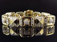 Wholesale Mens K Yellow Gold Genuine Diamond Aztec Style Link Bracelet MM Ct