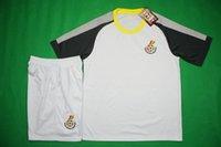 Wholesale Benwon Ghana home white football sets adult s thai quality football uniforms men s short sleeve sports jerseys outdoor soccer kits