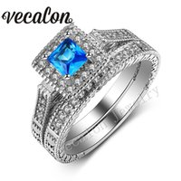 Bijoux Vecalon Antique Wedding Band Ring Set pour les femmes Aquamarine Simulé diamant Cz 10KT White Gold Filled bague de fiançailles