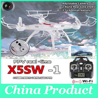 Wholesale SYMA X5SW WIFI RC Drone Quadcopter with FPV Camera Headless Axis Real Time RC Helicopter Quad copter Toys