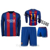 barcelona goods - 2016 AAA quality Barcelona home long sleeve kit Jerseys Messi Football Shirts Shorts Good Quality Kit Version Thailand soccer jer