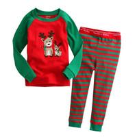Wholesale 2016 Christmas Pajamas outfits cartoon baby long sleeved pants set Santa and Christmas deer print suit kids Clothing styles