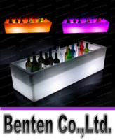 beer pails - Large Volume LED Plastic Ice Bucket Luminous Long Rectangle Buckets Light Color Changing Champagne Beer Red Wine Cooler Ice Pail LLFA190