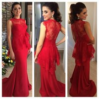 beautiful dress patterns - Custom made Red Evening Dresses High Quality Fashion Beautiful Lace Patterns Long Elegant Mermaid Red Prom Party Gowns from Dubai