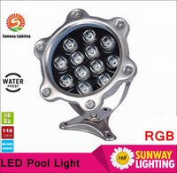 Wholesale Best DC12V Underwater LED lights W LM Waterproof IP68 Swimming Fountain Lamp RGB warm white pure white stainless steel lamp body