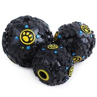 Wholesale 2016 new Fantastic Black rubber Bone Pattern Pet Dog Toys Feeding Ball Sound Toy Size