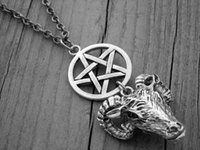 baphomet necklace - 12pcs Silver Ram Head Necklace Pentagram Necklace Gothic Goth Witch Witchcraft Satanic Baphomet Goat s Head necklace
