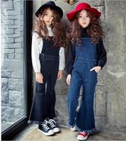 baby jean overalls - Baby Girls Denim Tassel Suspender Pants Kids Girls Wash Blue Casual Overalls Babies Autumn Winter Fashion Jean Christmas Trouser
