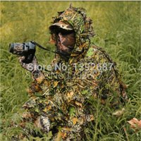 Wholesale unting Ghillie Suits Camo D Leaf Yowie Ghillie Sniper CAMO Suit GHILLIE SUIT Hunting Camping Outdoor Sport Jungle Camouflage Clothes WOO